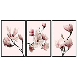 decomonkey | Poster 3er - Set schwarz-weiß Abstrakt Kunstdruck Wandbild Print Bilder Kunstposter Wandposter Posterset Magnolien Blumen Natur Rosa