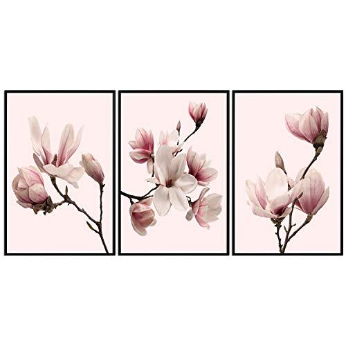decomonkey | Poster 3er - Set schwarz-weiß Abstrakt Kunstdruck Wandbild Print Bilder Kunstposter Wandposter Posterset Magnolien Blumen Natur Rosa - Magnolia Blumen-print