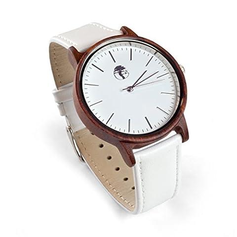 Viable Harvest Herren Holz Uhr, Natürliches Rot Sandelholz Echtes Lederband