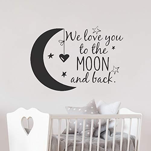 Dich zum Mond und zurück Wandtattoo Kinderzimmer Zitate Mond und Sterne Wandaufkleber Kinderzimmer Dekor Ideen Kinderzimmer57 * 40cm ()