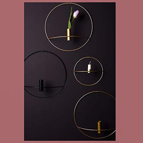 Wallfire Teelicht 3D Wand Kerzenhalter Metall Geometrische Home Kerzenhalter Kunstdekor (Color : 20 cm Black)
