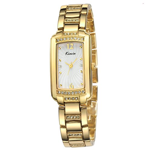 Hot KIMIO vigilanza di signore impermeabili moda elegante da polso quadrante piazza orologi in oro