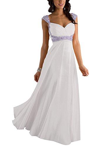 Erosebridal Formal Chiffon Lange Brautjungfernkleider Abendkleid DE 44 Weiß (Amazon Formale Lange Kleider)