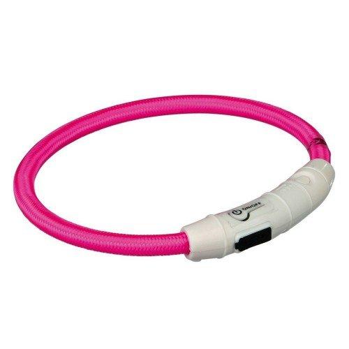 Trixie Aro con Luz Flash USB, M-L, 45cm/ø7mm, Rosa