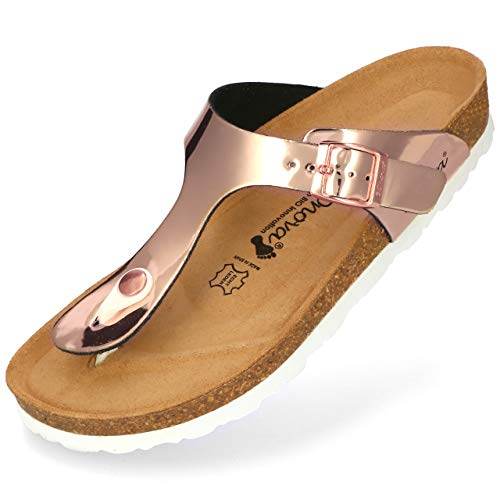 BOnova Damen Zehen-Trenner Ibiza in 14 Farben, stylische Pantolette mit Kork-Fußbett - Sandalen zum Wohlfühlen - hergestellt in der EU Rosegold Mirror 38