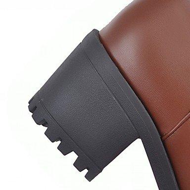 GLL&xuezi Da donna Stivaletti Comoda Innovativo Primavera Inverno Finta pelle Footing Casual A pois Quadrato Nero Beige Marrone 5 - 7 cm brown