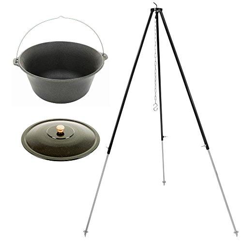 Grillplanet® Gulaschkessel Feuertopf 10 Liter aus massivem Gusseisen (Set mit Deckel und Dreibein)