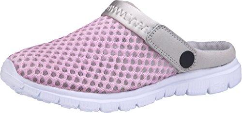 Gaatpot Damen Herren Clogs Pantoletten Slip on Outdoor Hausschuhe Freizeit Mesh Strand Sandale Schuhe Sommer Pink 37 EU = 38 CN
