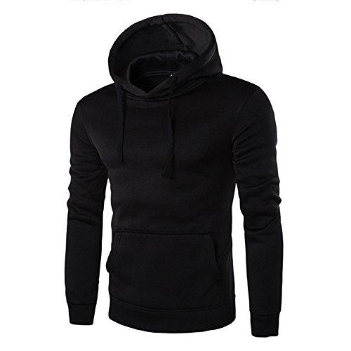WINWINTOM Manica Lunga Da Uomo Con Cappuccio Felpa Cappotto Outwear (XL, Nero)