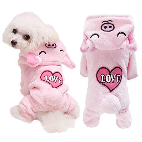 (Etophigh Haustier Herbst Winter Flanell Vier Beine Kostüm für Kleine und mittelgroße Hunde Welpe verdickt Hoodie Mantel niedlichen Herz Schwein Muster,Pink)