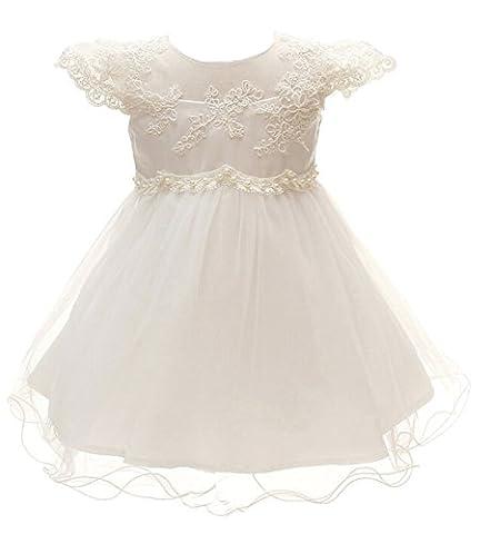 Baby Mädchen Set Taufkleid Prinzessin Kleid Creme(1781)3M
