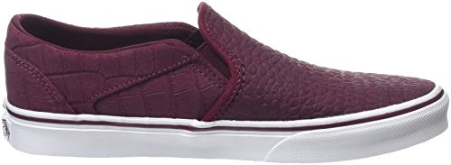 Vans Asher, Baskets Basses Femme Rouge (Croc burgundy)