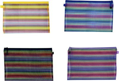 Birthday Return Gifts Orchard Zip Pouches Stripes Art Nylon Pencil Boxes Pack Of 12