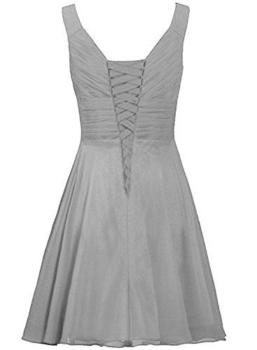 Azbro Women's V Neck Sleeveless Rhinestone Bridesmaid Dress Grey