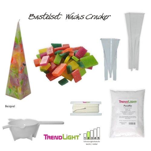Kerzen Bastelset - Wachs Cracker 1 Kg Kerzenwachs, 350 g Wachssplitter, 2 Gießformen, Kerzendocht, Schmelzkelle