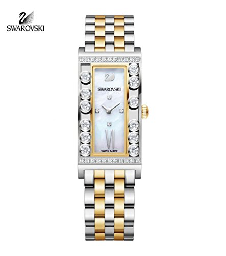 Swarovski Lady Gold Plated 2 Tone Lovely Crystals Square Watch