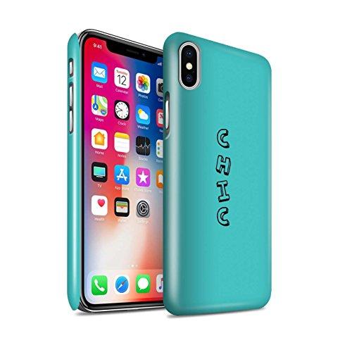 STUFF4 Glanz Snap-On Hülle / Case für Apple iPhone X/10 / Rosa/Fabelhaft Muster / Gekritzel Wörter Kollektion Blau/Chic