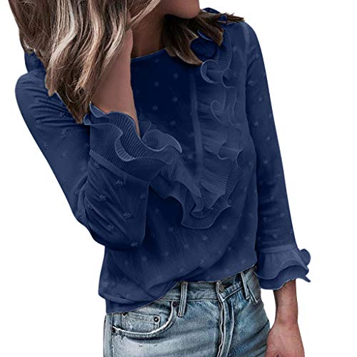 Amy Kostüm Rose - Frauen Spitze O-Ansatz Langarm T-Shirt Freizeit Herbst Bluse Solid Slim Fit Leichte Atmungsaktive Shirt Spot Knopf Spitze Outdoor Casual Bluse