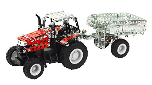 Tronico 09541 - Metallbaukasten Traktor Massey Ferguson MF-7600 mit Kippanhänger und Fernsteuerung, Maßstab 1:64, Micro Serie, rot, 427 Teile*