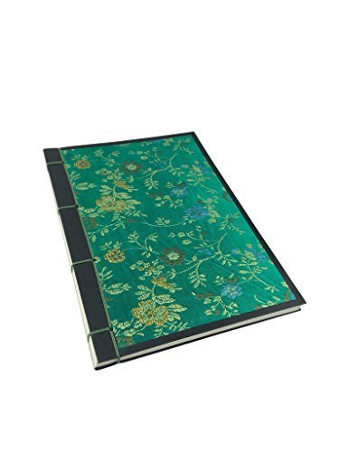 Handmade NoteBook Covered with Silk Jacquard - Green Blank Paper Size 4.9