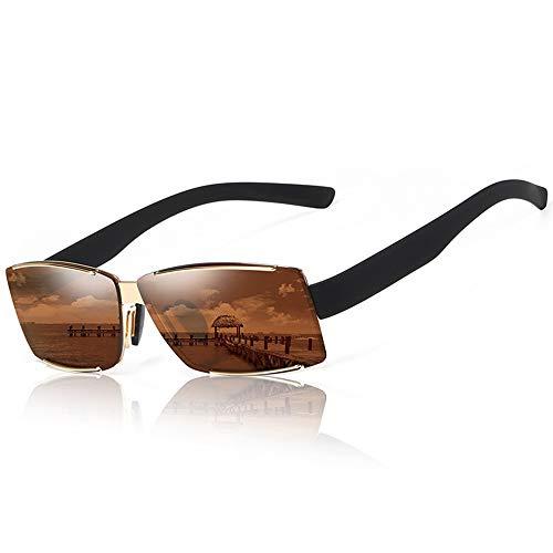 HANYF Randlose eckige Sonnenbrille mit blauem Film in der Harzlinse des Metallrahmens. Gehen Sie Angeln und schicken Sie Geschenke an Familie und Freunde, braun