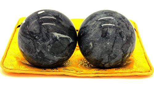 5,1cm Marmor Gesundheit Stress Bewegung Qigongkugeln schwarz grau craft Collection BS002