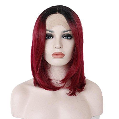 NHJFWG 16 Zoll Bob Rot Synthetik Haar Handgewebt Vordere Spitze Perücken Frau