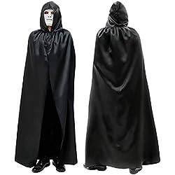 Inception Pro Infinite Capa Negra - Larga - con Capucha - Satinada - Aderezo Cruzado - Bruja - Vampiro - Muerte - Adulto - Hombre - Mujer - Unisex