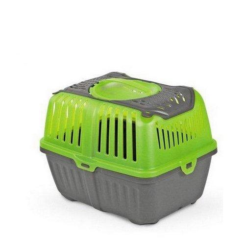 Trasportino Neyo Pet Carrier - Accessorio da viaggio in plastica, con doppia apertura, per roditori, conigli e cuccioli (Verde)
