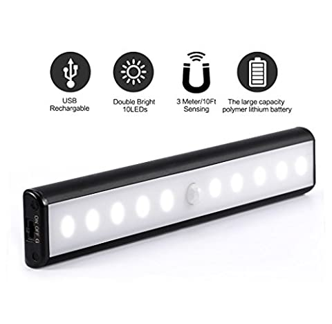 10 LED Rechargeable Battery Powered Strip Powered THE NEW SECOND GENERATION Portable WirelessPIR Motion Sensor Light Night Lights Aluminum Bar Shell with Stick-on Cupboard lights Decorative Magnetic Strip USB Charging Partial Illumination Lights for Cabinet Closet Stairs Hallway lights TLBBA (1 * Black)