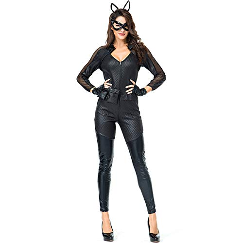 Cosplay Cat Kostüm Black - QQWE Catwoman Cosplay Kostüm, Cat Girl Kostüm, Halloween Christmas Dance Kleidung, Bühnenkostüm,Black-M