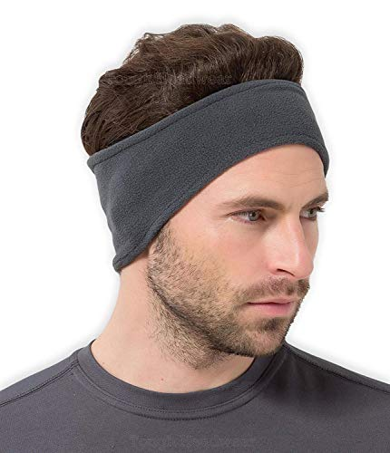 Tough Headwear Fleece Ohrwärmer Stirnband/Ohrenwärmer-Stay Warm & Cozy mit unseren Thermo-Polar Fleece & Performance Stretch. Perfekt für Sport & Alltag, dunkelgrau Polar-fleece Ear Warmer