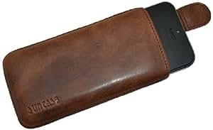 Suncase Original Echt Ledertasche mit Rückzugsfunktion mit Rückzugfunktion für Apple iPhone 5 / 5S antik-rost