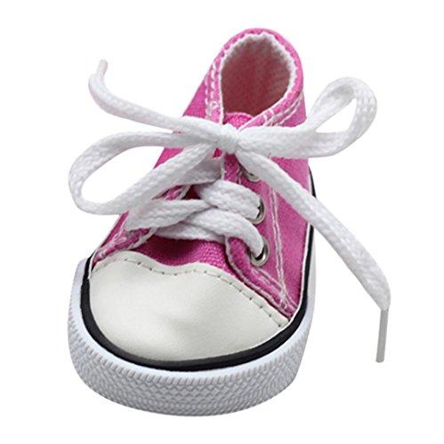 (Kinder Spielzeug, Leinwand Lace up Sneakers Schuhe für 18 Zoll Unsere Generation American Girl & Boy Puppen vorgeben Spielen Spielzeug Geschenke (Pink, 7cm*4cm))