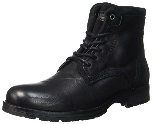 JACK & JONES Herren Jfwhanibal Leather Black Klassische Stiefel, Schwarz (Black), 43 EU (Wildleder Schuhe Boot Leder)