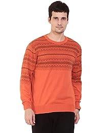 TAB91 Men's Cotton Rich Orange Round Neck Pullover