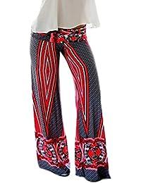 Bigood Pantalon Elastique Femme Large Jambe Yoga Plage Imprimé Casual 311ec55c3000