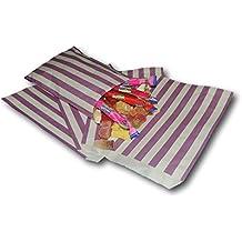 La empresa de bolsa de papel Bolsas de 5(12,7x 17,8cm), diseño de rayas de papel, 100unidades), color morado, 100unidades)