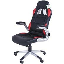 Sedia da ufficio girevole, sedia girevole da ufficio in pelle, colore: nero, impugnatura ergonomica imbottita per PC gaming sedie con braccioli, altezza regolabile nero - A -glance Executive Desk
