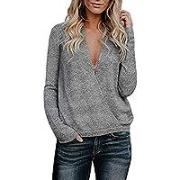 Btruely Pullover Damen V Ausschnitt Winter Herbst Loose Fit Sweatshirt Gestrickte Langarmshirt Plusch Jumper Langarm
