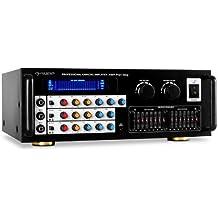 auna Pro1-Sing amplificador HiFi (600 W de potencia, 3 entradas frontales para micros de 6,3 mm, ecualizador de 7 bandas, 2 conexiones de tornillo para altavoces, salida RCA)