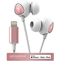 Thore iPhone In Ear Lightning Headphones Apple MFi Certified Earphones (2018 V100) Wired Earbuds with Mic/Volume Control & Microphone for iPhone 7/8 Plus/XR/Xs Max- Rose Gold