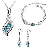 Da.Wa 1 Set Kristall Schmuck Engel Elf Ohrring Armband Halskette Set Paar Geschenk Dekoration Himmelblau
