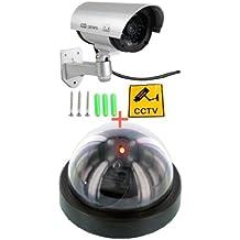 Finta telecamera a staffa con led lampeggiante + finta telecamera dome con cupola e led con sensore di movimento Dummy cam lampeggiante IR infrarossi design professionale