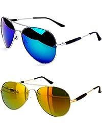 Younky UV Protected Polarized Aviator Unisex Sunglasses(M21_AvstkBM-AvstkGM|55|Blue) - Combo Pack