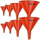 DEDC Lot de 8 Entonnoir Essence pour Moto Aoto Voiture Entonnoir Huile Diamètre de 12cm 10cm 7,5cm 5cm en Plastique Rouge