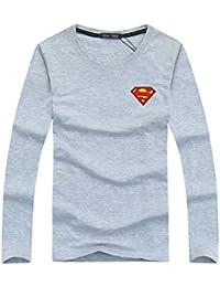 Yuanu Hombres Moda De Otoño Esbelto con Superman Impreso Camiseta De Manga Larga