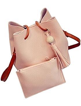 Chinget Damen Mode PU Leder Handtaschen Schulter Beutel Tote Beutel und Geldbörse Tasche Set of 2