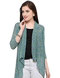b4f415469f2 Serein Women s Green Colour Printed Georgette Long Shrug Long Jacket with  3 4 th