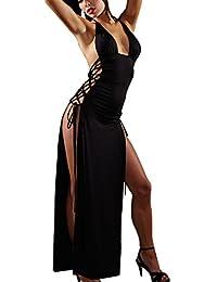 Shangrui Mujer Varios Negro Cóctel de Split del Club del Partido del Vestido de Alta Hendidura Salto de Cama